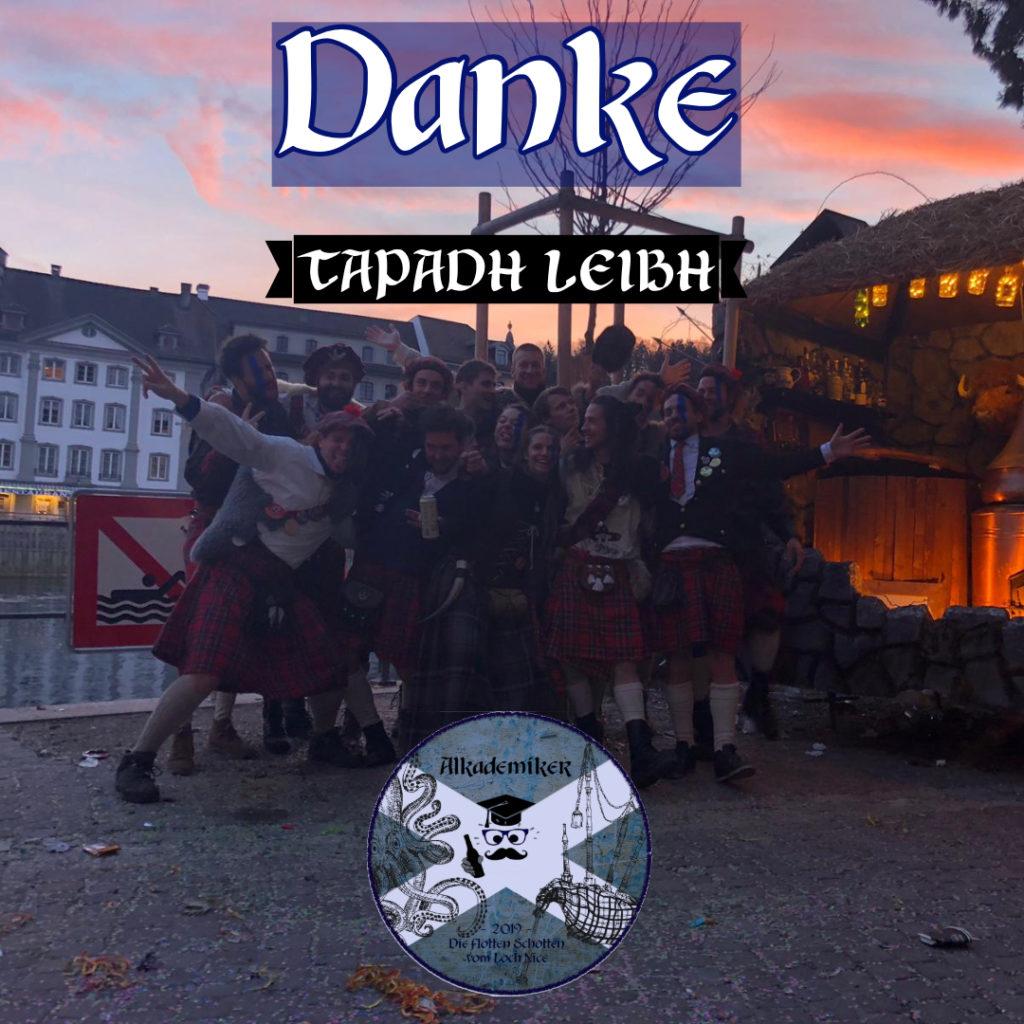 Die flotten Schotten sagen danke! – Tapadh leibh!